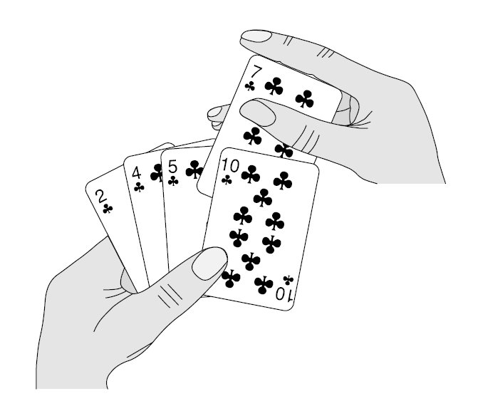 Insertion sorting a hand